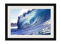 サーフィン波 - 木製フレーム額装ポスター 絵画 ホーム壁の装飾 額縁 木枠額装絵画 壁画 40x30cm 黒い枠