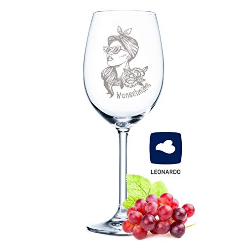 XL Leonardo Weinglas im Rockabilly Girl Design mit Gravur eines Namen - originelle & lustige Geschenkidee als Geburtstagsgeschenk - Geeignet als Rotweinglas Weißweinglas - Hochwertige Laser-Gravur