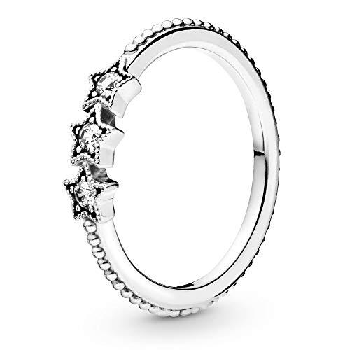 Pandora Jewelry Anillo de plata de ley, diseño de estrellas celestiales con circonita cúbica, tamaño 9