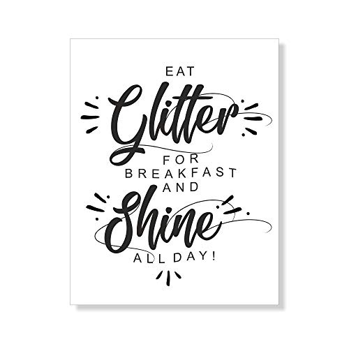 4you Design Poster Eat Glitter for Breakfast and Shine All Day - schwarz-weiß - 21x30cm - 30x40cm - für Frauen & Mädchen - Dekoration - Geschenkidee - Wohnaccessoire (21x30cm)