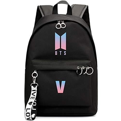Chour&Euhk Kpop BTS Bangtan Boys Starry High Capacity Backpack Boys and Girls Students Rucksack Star Surrounding School Bag Hot Gifts for Fans(V)