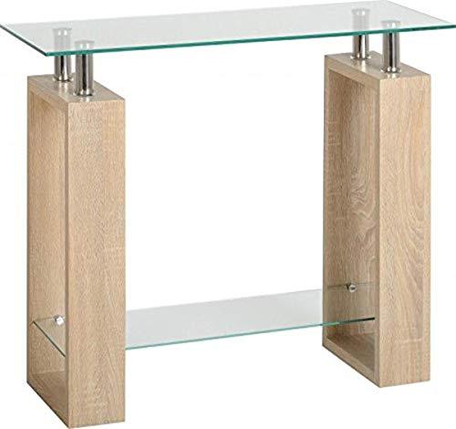 Seconique Milan Console Table, Sonoma Oak Effect Veneer/Clear/Silver, 90 x 35 x 73 cm