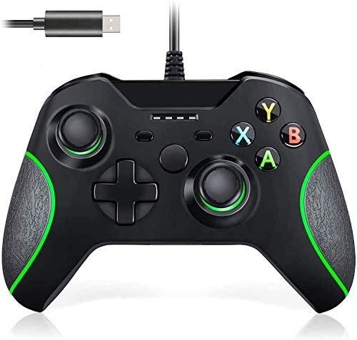Wired Controller für Xbox One, Lampelc Xbox One Controller mit 3,5 mm Headset Audio Jack, Xbox Controller One Gamepads Joysticks für Xbox One / One S / One X / PS3 und PC (Schwarz)