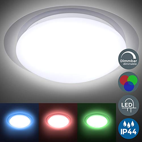 Plafón LED regulable I Lámpara de techo LED multicolor I 16 colores seleccionables con mando a distancia I Ø28cm 12W I Plafón para baño IP44 I Exterior y Interior I Blanco neutro 3000K I 16RGB