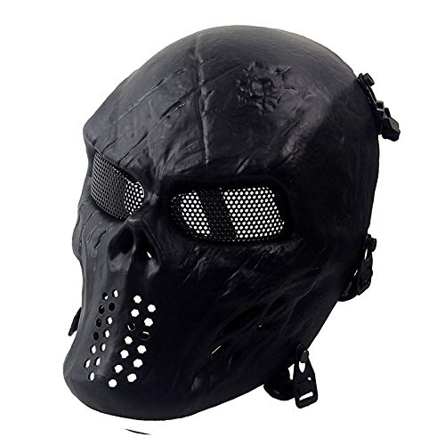 NINAT Airsoft Skull Masks Full Face Tactical Mask with Metal Mesh Eye Protection for CS Survival Games Airsoft Shooting Halloween Cosplay Movie Scary Masks Black