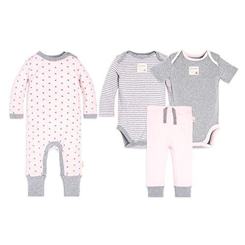 Burt's Bees Baby Unisex Baby 4-Piece Clothing Set, Bodysuit, Romper Pant Bundle, 100% Organic Cotton, Sketched Bees, 24 Months