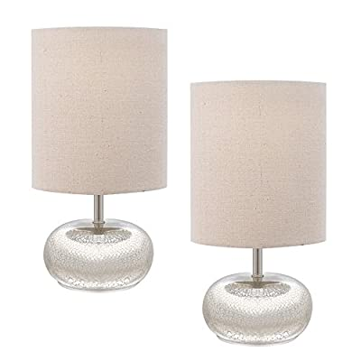 Catalina Lighting Mercury Glass Accent Table Lamps with Beige Linen Shades