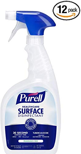 PURELL Healthcare Multi Surface Disinfectant Spray, Fragrance Free, 16 fl oz Capped Trigger Sprayer Bottles (Pack of 12) - 3140-12 - Kills Norovirus and MRSA in 30 seconds - Hospital Grade Cleaner