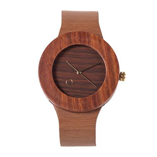 seQoya - Yosemite   Reloj de Madera con Esfera de Madera y Correa de Piel ecológica simulando Madera Estampada   Reloj Hombre y Mujer   Diseño único y Original