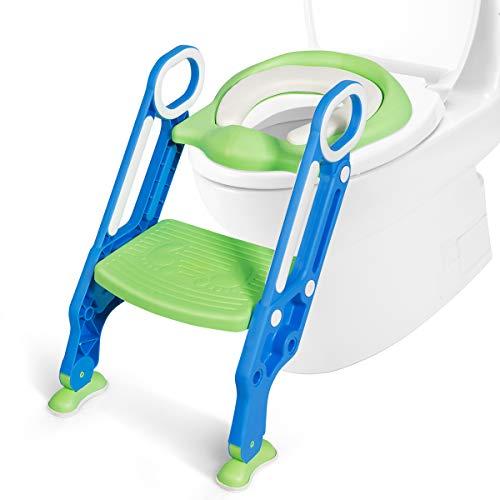 COSTWAY Kinder Toilettensitz höhenverstellbar, Kindertoilette faltbar, Toilettentrainer mit Leiter und Griffe, Töpfchentrainer zum Toilettentraining für Kleinkinder von 1 bis 5 Jahre (Blau + Grün)