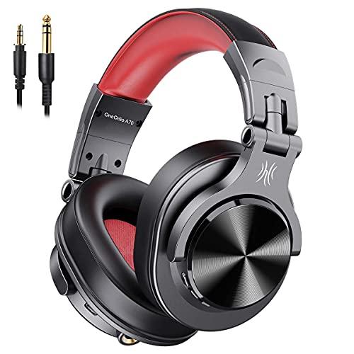 OneOdio FuSion A7 ヘッドホン Bluetooth 50時間 AAC対応 高性能 高音質 モニターヘッドホン 密閉型 低音強化 有線 無線 (赤黒)