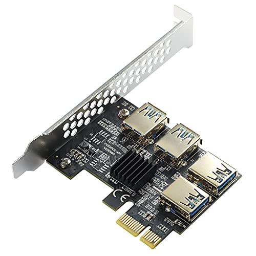 MZHOU PCIe 1 bis 4 PCI-Express,4-Port-PCIe-Riser-Adapterplatine USB 3.0 Adapter Multiplier Karte mit höherer Stabilität für Bitcoin Mining