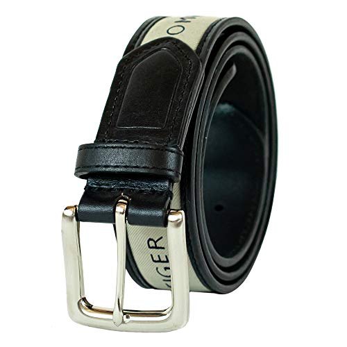 Tommy Hilfiger Men's Ribbon Inlay Belt - Ribbon Fabric Design with Single Prong Buckle, black/natural, 34