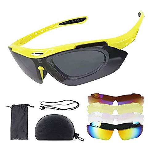 Gafas de sol deportivas polarizadas con 5 lentes intercambiables, gafas de ciclismo para hombre y mujer, gafas de ciclismo para conducir, ciclismo, pesca, correr, navegar