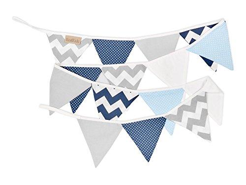 KraftKids Stoff-Wimpelkette Chevron dunkelblau grau weiß, handgemachte Wimpel-Girlande aus Baumwolle