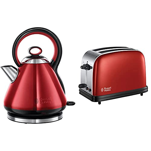 Russell Hobbs Traditional Kettle and 2 Slice Toaster, Red