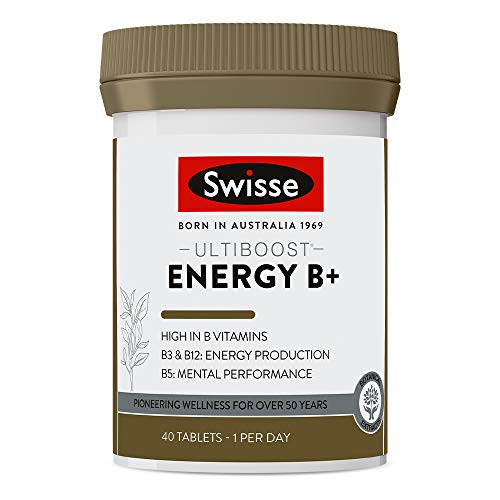 Swisse Ultiboost Energy B+ Tablets | Energy & Recovery Support | Vegan Supplement | 40 Tablets