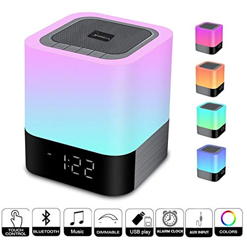 WamGra Night Light Bluetooth Speaker, Alarm Clock Bluetooth Speaker MP3 Music Player, Touch Control 48 Led Color Changing Bedside Lamp for Bedroom