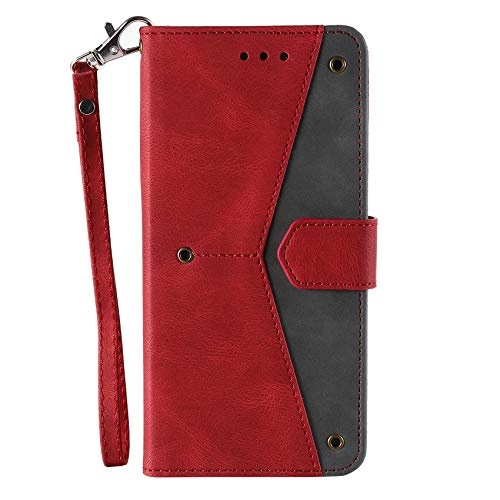NEINEI Handyhülle für Xiaomi Redmi 9C Hülle,Premium PU/TPU Lederhülle Klapphülle mit Magnetisch,Kartenschlitz,Spleißen Design Handytasche Schutzhülle Flip Cover Hülle,Rot