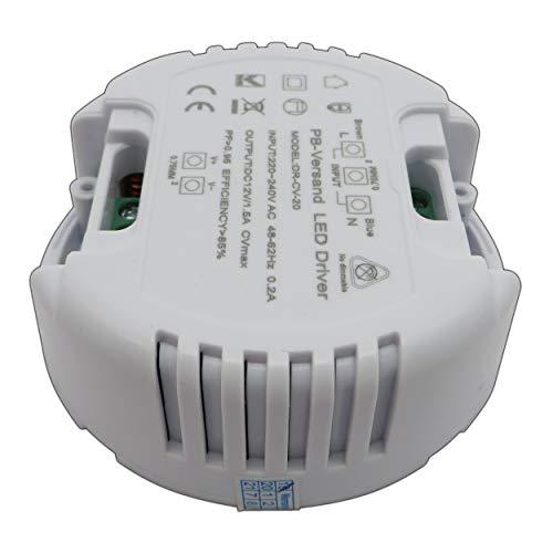 LED Trafo 12V DC 1-20 Watt (rund) Netzteil Treiber Transformator - ohne Mindestlast