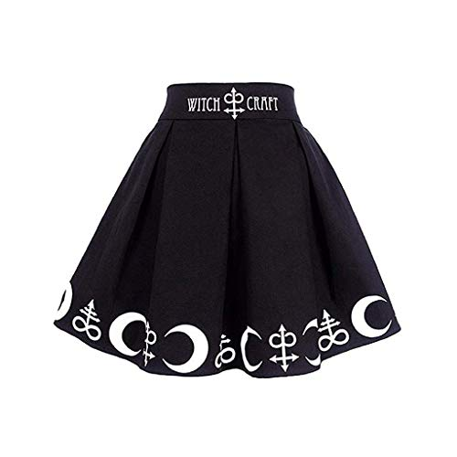 HLIYY Femmes Jupe Mini Jupe PlisséE Symboles Gothique Punk Sorcellerie Lune Magique Danse Performance Jupe Chic Jupe Élégante Robe