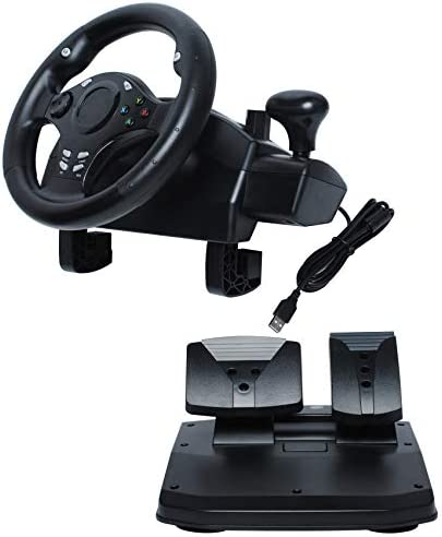 R270 Degree Gaming Racing Steering Wheel w Pedals Compatible with XBOX ONE XBOX 360 PC Driving product image