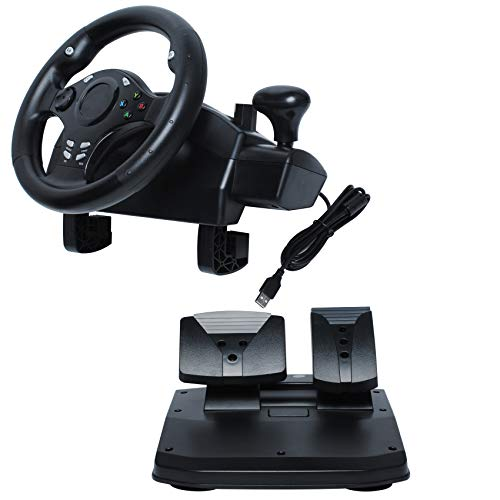 R270 Degree Gaming Racing Steering Wheel w/ Pedals for compatible with XBOX ONE XBOX 360 PC Driving Force Steering Wheel PS3 PS4