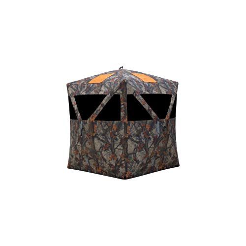 Barronett Blinds Road Runner Hub Hunting Blind, 2 Person Pop Up Ground Blind, Bloodtrail Woodland Camo and Blaze Orange Safety Panels, RR200BT