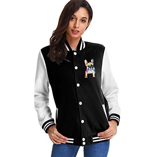 dogcat Französische Bulldogge Original Aquarell Frau Mädchen Baseball Uniform Jacke Sweatshirt Mantel für Sport Gym XXL
