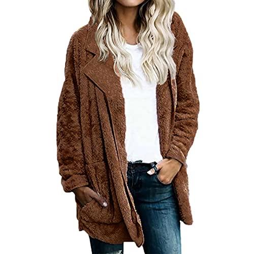 Abrigo de piel sintética para mujer, chaqueta de frente abierto, chaqueta de invierno cálida, solapa sólida, casual, larga con bolsillo, marrón, XL