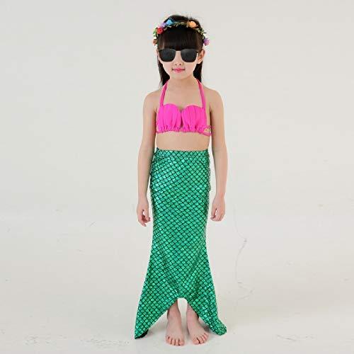 HiFunBay Filles sir/ène Queue Enfants Costume de Natation Inclus 3 PCS Bikini Maillot de Bain et Bandeau Guirlande de Fleurs DH48-B07,120