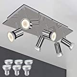 LED 6 Way Indoor Adjustable Ceiling Lighting Fittings Flush Brushed Chrome Kitchen Light with 6X GU10 Bulbs Warm White 5W