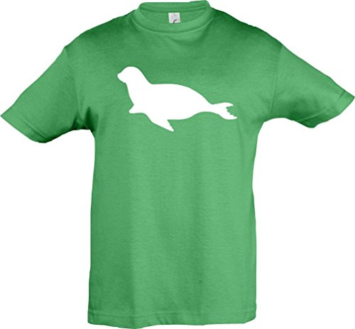 Kinder-Shirt; Tiermotiv Robbe, Seehund, Seelöwe; Farbe Kelly, Größe 128