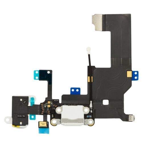 Connettore di Ricarica Dock Charging di Ricambio per iPhone 5 Bianca - Flex con Parti Elettriche per Microfono, Antenna, Audiojack, Tasto Home
