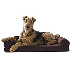 Furhaven Pet Dog Bed – Memory Foam Quilted Traditional Sofa-Style Living Room Couch Pet Bed with Removable Cover for Dogs and Cats, Coffee, Large