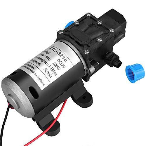 Greensen Wasserpumpe 12V Pumpe Selbstansaugend Membran Wohnmobil Wasserpumpe für Auto Waschen Boot Reinigung Garten Bewässerung Wohnwagen/Caravan/Wohnmobil- / Boot/Marine (100W 8L/Min)