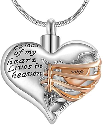 OPPJB Collares para Mujerun Pedazo De Mi Corazón Vive En El Cielo, Urna Conmemorativa, Collar De Cremación De Corazón, Colgante para Hombres/Mujeres, Joyería De Recuerdo