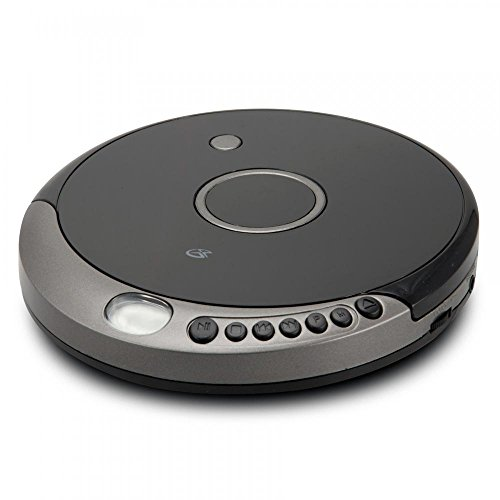 GPX PC807B Personal Portable MP3/CD Player with Anti-Skip Protection with Stereo Earbuds, Black/Gray