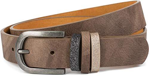 styleBREAKER Damen Gürtel Uni mit Glitzer Schlaufe, kürzbar 03010091, Farbe:Braun, Größe:100cm