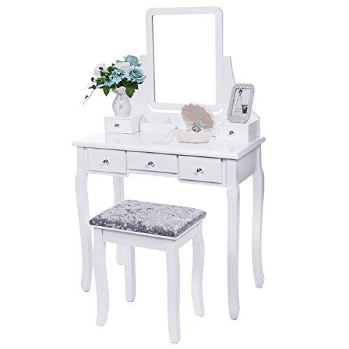 BEWISHOME Vanity Set with Mirror & Cushioned Stool Dressing Table Vanity Makeup...