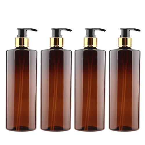 FBJIE 4 unidades 500 ml 16 oz vacío botella de loción de plástico ámbar dispensador con bomba negra y anillo de tornillo dorado para champú líquido de manos gel de ducha y aceite esencial recargable