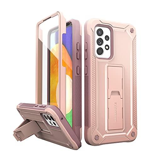 URBANITE Funda para Samsung Galaxy A52 5G, de grado militar, a prueba de golpes, doble protección, protector de pantalla integrado y soporte para teléfono Samsung A52 5G (6.5 pulgadas, rosa)