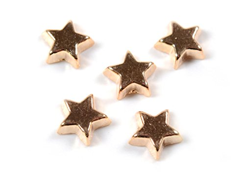 Glasmedaillon Cabochon Einleger Stern in roségoldfarben von Vintageparts 8 Stk