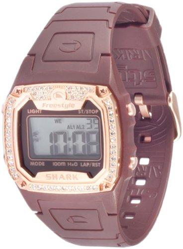 Freestyle Shark Classic 101080 - Reloj Digital de Cuarzo para Mujer, Correa de Goma Color marrón (Alarma, Registro de Vueltas, luz, cronómetro)