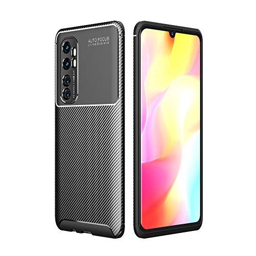 Xiaomi mi Note 10 Lite Case, Silicone Leather[Slim Thin] Flexible TPU Protective Case Shock Absorption Carbon Fiber Cover for Xiaomi mi Note 10 Lite Case (Black)