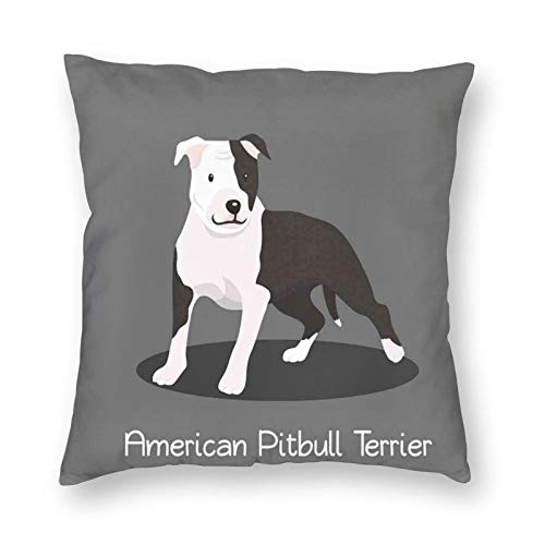 Decorative Cushion Covers with American Pitbull Terrier Pet Cartoon Illustration Graphic Design On Grey Background,for Sofa Office Decor Cotton and Linen Cushion Covers 18*18Inch