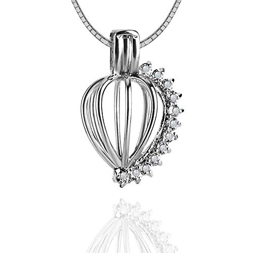 NY Jewelry Sterling Silver CZ Heart Cage Pendants for Pearl, Pearl Cages for Pearl DIY Jewelry Making