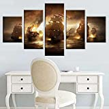 QQWERAbstracta Decoracion De Parednaves De Batalla Naval Llama Quemada5 Piezas Modernos Mural Fotos para Salon,Dormitorio,Baño,Comedor HD Impreso Canvas Art