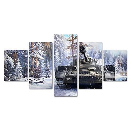 Hllhpc canvas, woonkamer, HD-druk, moderne afbeelding, 5 kasten, sneeuwvanger, muurkunst, modulaire decoratie (30 x 40 x 60 x 80 cm)
