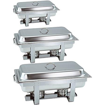 GVK ECO Chafing Dish Lot de 3 Chauffe-Plats empilables avec poignée Ronde 65 mm